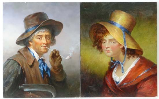 R J West Oil on boards, a pair Portraits of Victorian