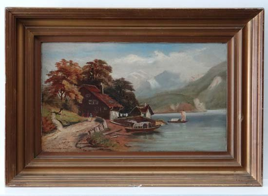 Edith Moss late XIX Oil on canvas Lake view with boats,