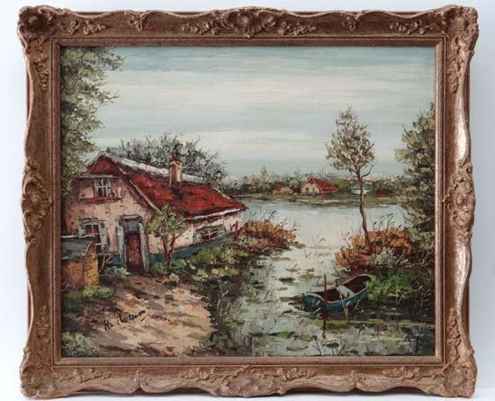 H. Rossum? (XX) Oil on canvas River cottage , river and