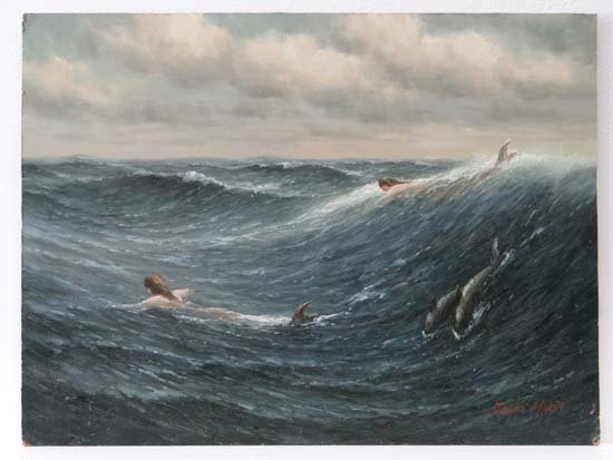 James Hardy XX Oil on board Swimming with dolphins