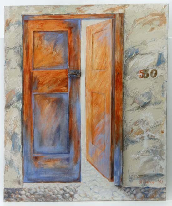 V Fakino 1991 Oil on 3 D canvas No. 50 Open Door Signed