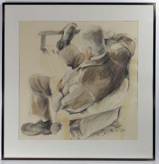 VF 1986 Pencil, chalk and watercolour Reclining figure