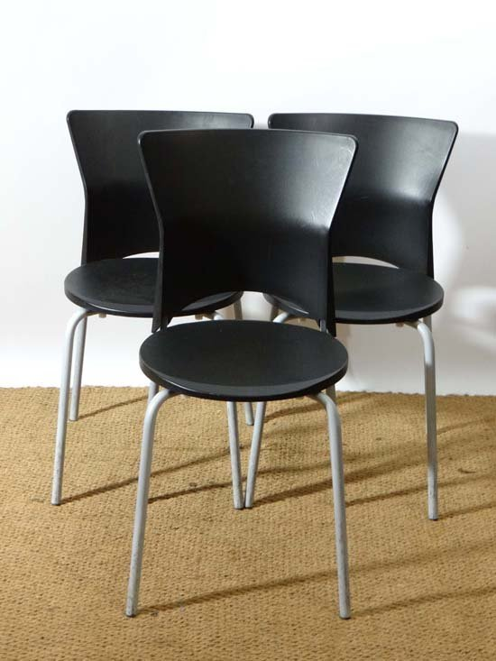 Vintage Retro : three Italian Isis Stackable chairs