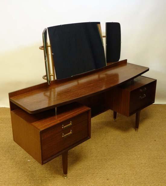 Vintage Retro : EG G-Plan Gold Knee Hole Dressing Table