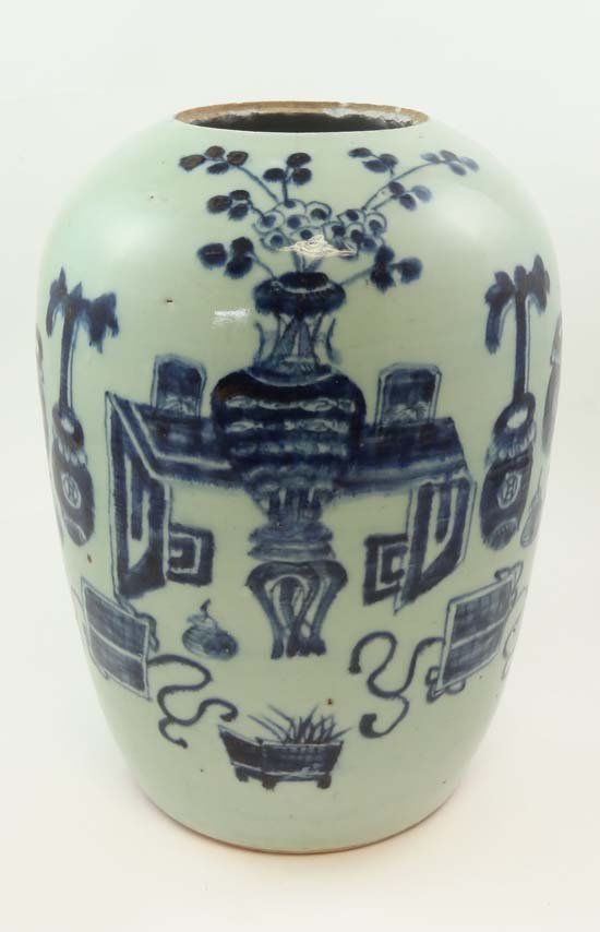 A 19thC Chinese blue and white large ovoid vase. Approx