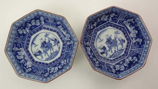 A Pair Of Oriental Octagonal Shaped Bowls Decorated In