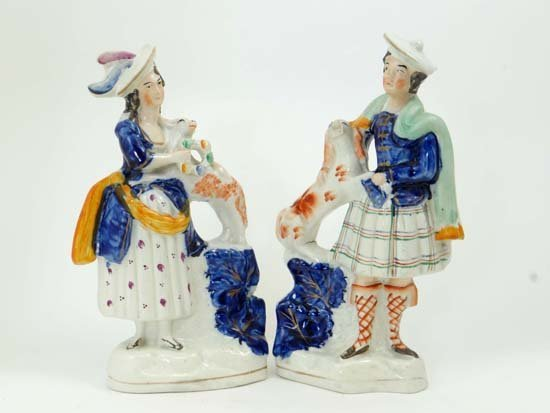A pair of Victorian Staffordshire figures depicting chi