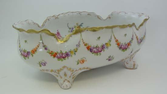A Dresden porcelain oval shaped bowl having frilled rim