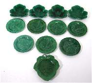 19thC Green glazed plates  a collection of assorted g