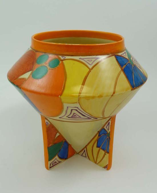 A C1930 Clarice Cliff Vase Of Angular Shape (shape No.