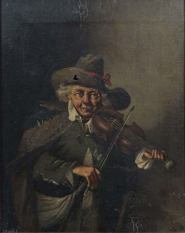XIX Continental School Oil on canvas The Violin Player