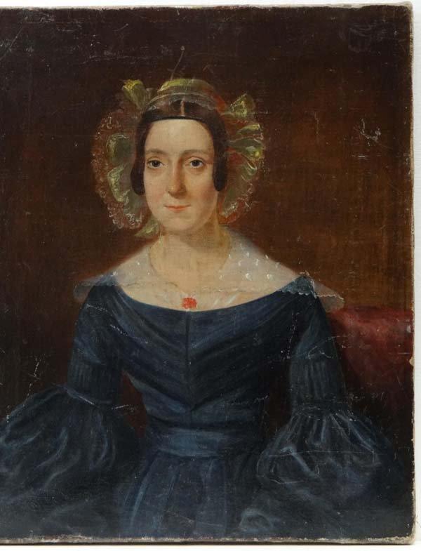 XIX English School Oil on canvas Portrait of a lady 12