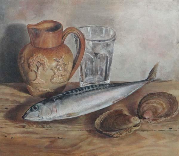 Victorian School XIX Oil on card Still life of