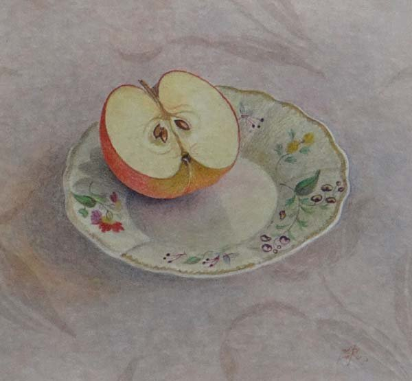 F.Reed XX Watercolour Still life of half an apple on a