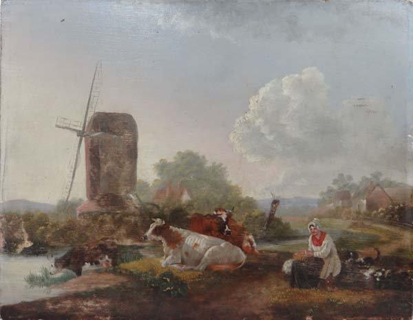 XIX East Anglian School Oil on fielded panel Windmill,