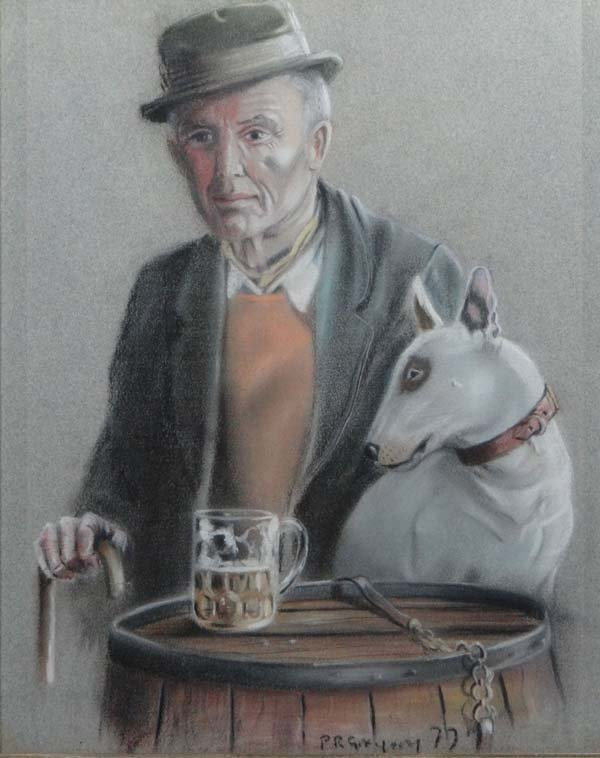 P R Gregory XX Pastel The Old Bill Sykes and Dog Signed