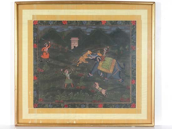 Indian : A Mughal Empire style painting on silk of a ti