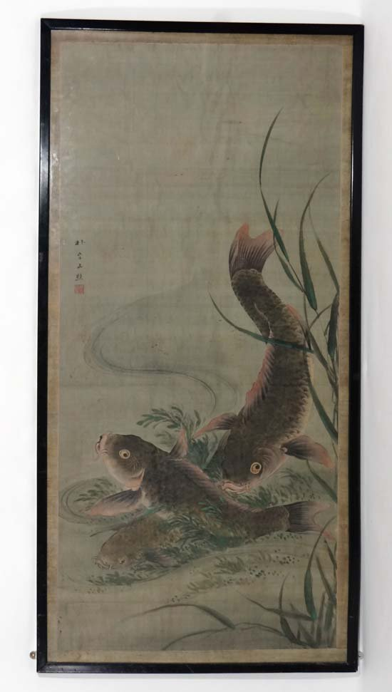 Japanese Hokusai School :  an early 19thC large signed