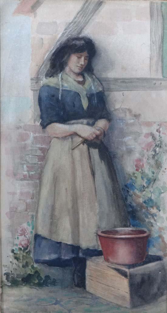 H E Butler (1861- 1931) Cornish? Watercolour Preparing