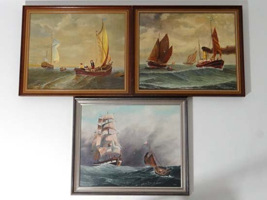 WFG XX 3 x  oil on canvas Pilot boat going to 3 masted