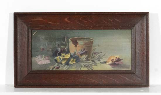 Edwardian school Oil on canvas Pansies and a terracotta
