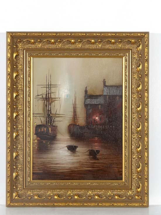 Barry Hilton 1941 Oil on canvas Ship moored at night wi