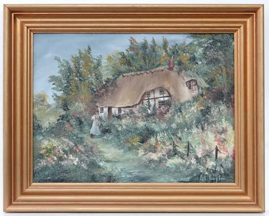 Pat Langton XX Oil on board Thatched cottage in an Engl