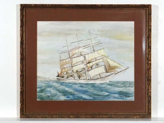 Sheila Lovett XX Watercolour Marine portrait of a three