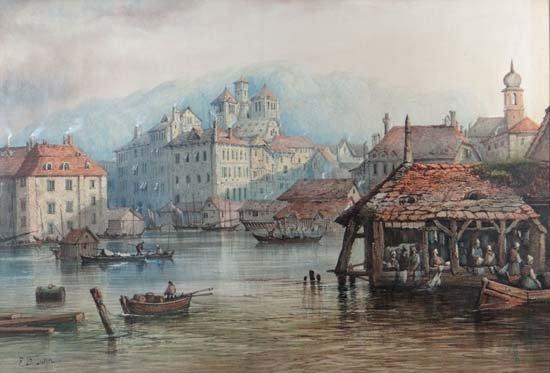 Edwin St John ( act. 1880-1890) Watercolour pencil and