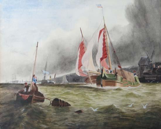 XIX Dutch  Watercolour with body colour Estuary scene w