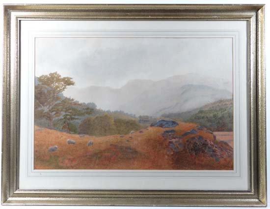 Roberts (XIX-XX) Watercolour Sheep grazing before farms