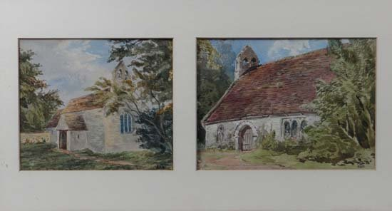 Thomas Hutton 1881 A pair of Diptych mounted watercolou