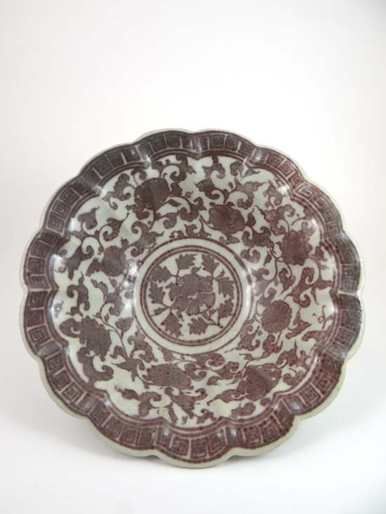 A large Chinese Ming style bowl of lotus shape decorate
