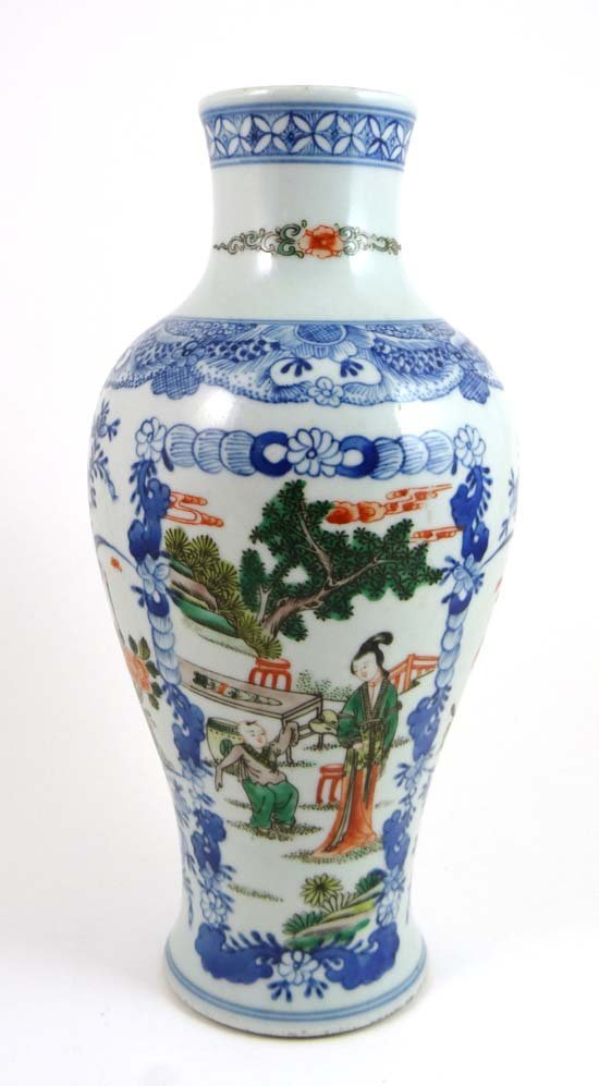 A Chinese 6 character mark baluster shaped vase. 11 1/8