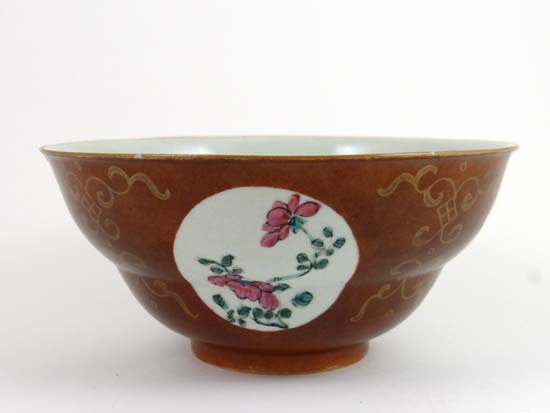 A Batavian ware shaped bowl decorated with floral carto