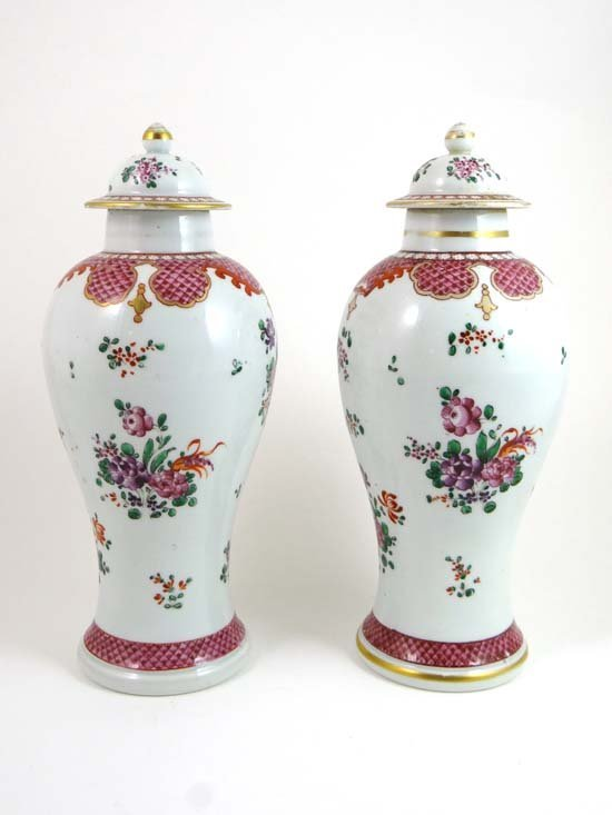 A pair of late 18thC Chinese baluster shaped Famille Ro