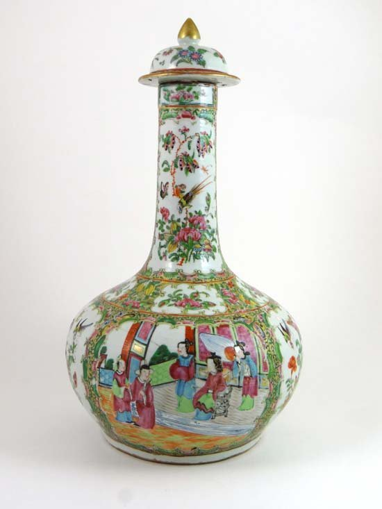 An 18thC Cantonese lidded vase of globular onion shaped