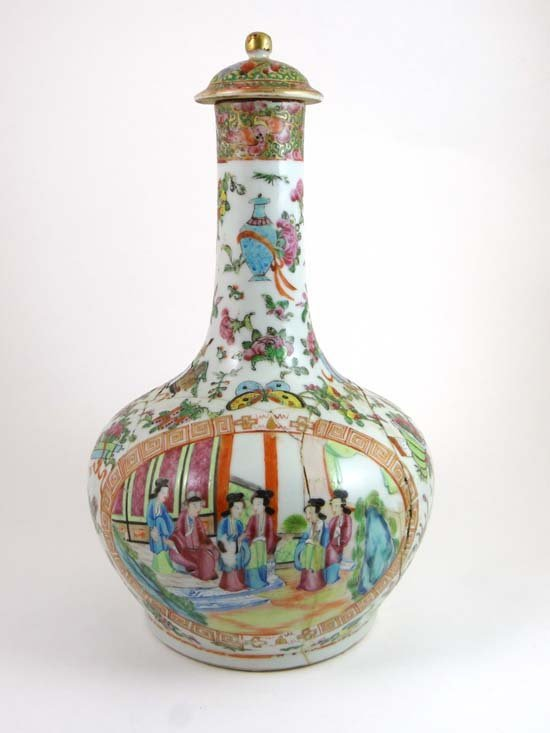 An 18thC Cantonese lidded vase of globular onion shape