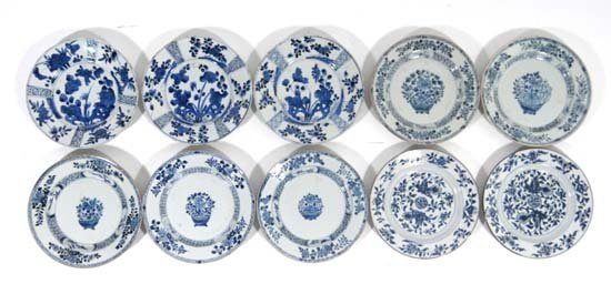 A collection of 10 Chinese porcelain plates, decorated