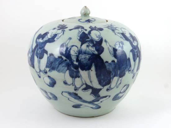 A large Chinese porcelain globular covered pot decorate