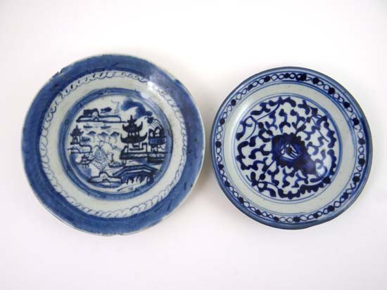 Two 18th / 19thC handpainted Chinese blue and white pla