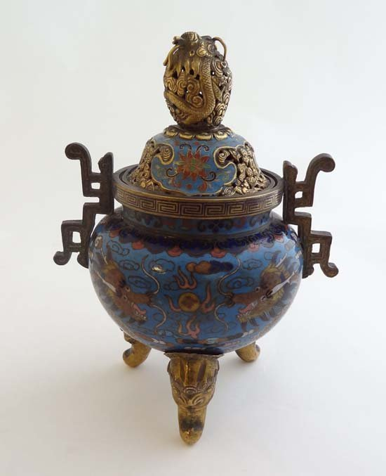 A superb 18thC? Chinese gilt bronze and cloisonne lidde