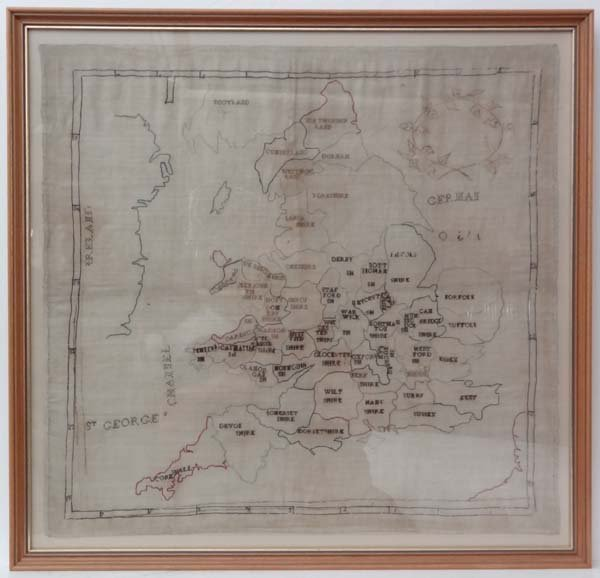 Hand stitched map : an 18th/19th C map depicting the Co