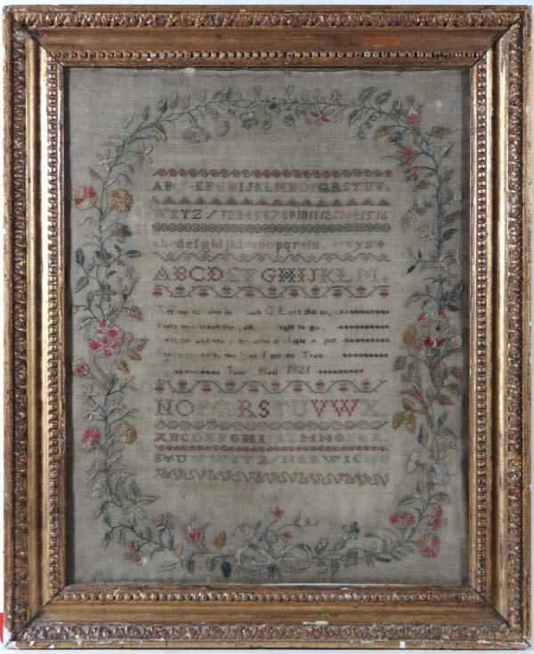 Silk Sampler : ' Jane Meal 1821 , Norwich ' a  hand sti