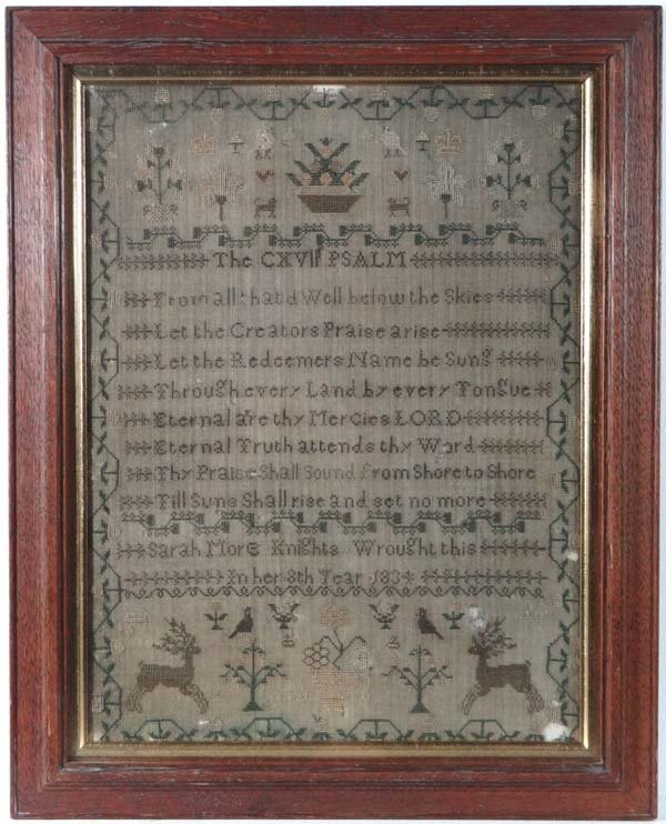 Silk Sampler : ' Sarah More Knights Wrought this In Her