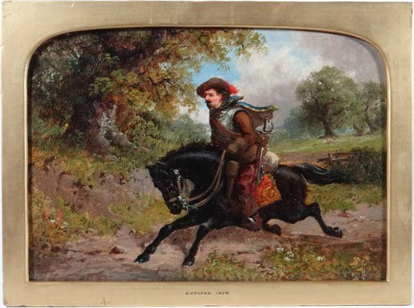 J. Hooper 1876 Oil on board Civil war Cavalier riding o
