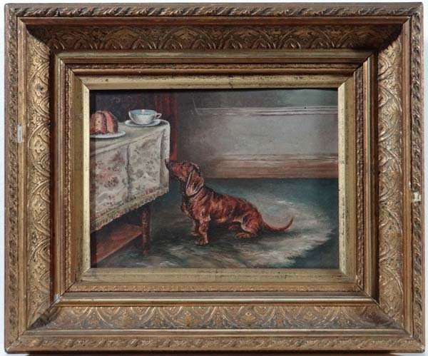 German School XIX -XX Oil on canvas A Dachshund dog at