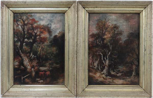 Circa 1800 English School Pair of oils on panels Rustic
