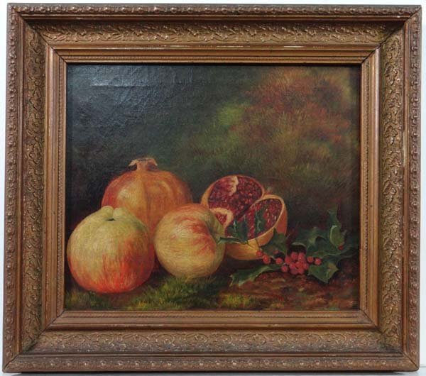 XIX English School Oil on canvas A still life of pomegr
