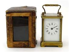 Carriage Clock : a brass cased French carriage clock st